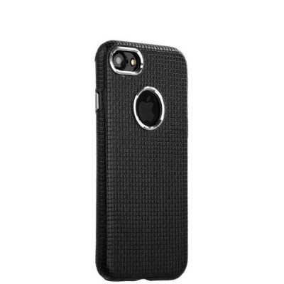Накладка кожаная i-Carer для iPhone 8/ 7 (4.7) Transformer Real Leather Woven Pattern Back Cove (RIP710bl) Черная
