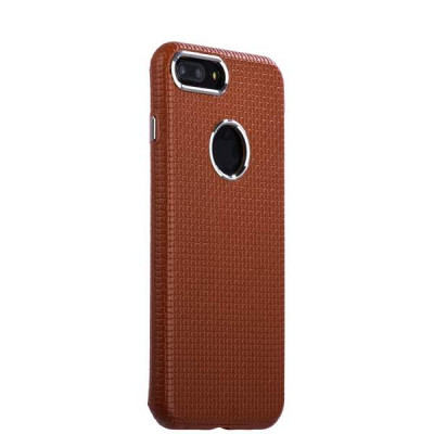 Накладка кожаная i-Carer для iPhone 8 Plus/ 7 Plus (5.5) Transformer Real Leather Woven Pattern Back Cove (RIP7010br) Коричн.
