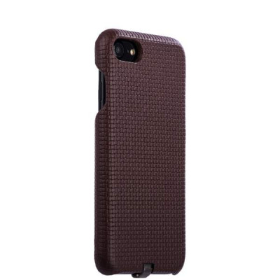 Накладка кожаная i-Carer для iPhone 8/ 7 (4.7) Woven Pattern Series Real Leather Charging Connector (RIP711coff) Темно коричн.
