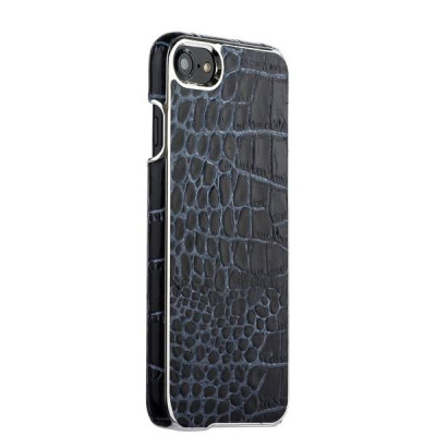 "Накладка кожаная XOOMZ для iPhone 8/ 7 (4.7"") Electroplating Crocodile Embossed Genuine (XIP710bl) Черная"