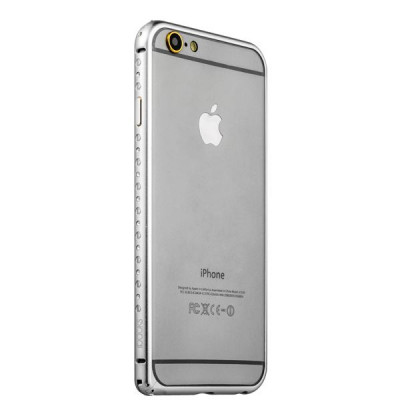 Бампер металлический iBacks Aircraft Grade Aluminum Bumper with Diamond для iPhone 6s/ 6 (4.7) (ip60222) Silver Серебро