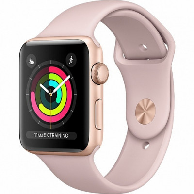 Apple Watch Series 3 38mm (GPS) Gold Aluminum Case with Pink Sand Sport Band MQKW2