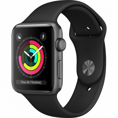Apple Watch Series 3 38mm (GPS) Space Gray Aluminum Case with Black Sport Band MQKV2