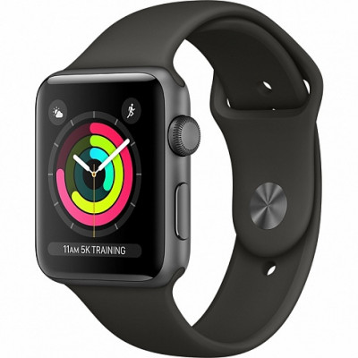 Apple Watch Series 3 42mm (GPS) Space Gray Aluminum Case with Black Sport Band  MQL12