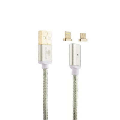 USB дата-кабель COTEetCI M43 с индикатором NYLON USB Lightning & microUSB 2in1+Magnet System CS2157-TS (1.2 м) Серебристый