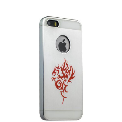 Накладка металлическая iBacks Aluminium Case With Cameo для iPhone SE/ 5S/ 5 - Dragon (ip50145) Silver Серебристая
